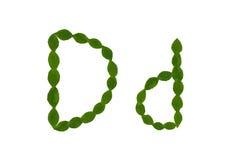 Γράμμα Δ, αλφάβητο που γίνεται από τα πράσινα φύλλα Στοκ Φωτογραφία