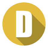 Γράμμα Δ με μια μακριά σκιά Διανυσματική απεικόνιση EPS10 απεικόνιση αποθεμάτων