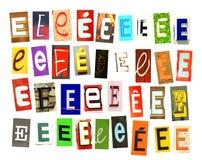 Γράμμα Ε εφημερίδων Colorfur στο λευκό στοκ φωτογραφίες με δικαίωμα ελεύθερης χρήσης