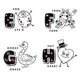 Γράμμα Ε Φ Γ Χ αλφάβητου που απεικονίζει ένα αυγό, έναν βάτραχο, μια χήνα και μια καρδιά στοιχεία αλφάβητου που το διάνυσμα Στοκ φωτογραφίες με δικαίωμα ελεύθερης χρήσης