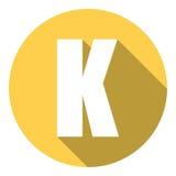Γράμμα Κ με μια μακριά σκιά Διανυσματική απεικόνιση EPS10 απεικόνιση αποθεμάτων