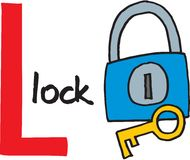 Γράμμα Λ - κλείδωμα Στοκ φωτογραφία με δικαίωμα ελεύθερης χρήσης
