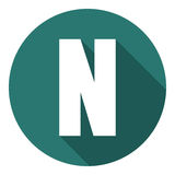 Γράμμα Ν με μια μακριά σκιά Διανυσματική απεικόνιση EPS10 διανυσματική απεικόνιση
