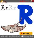 Γράμμα ρ με το ζωικό χαρακτήρα ακτίνων κινούμενων σχεδίων Στοκ εικόνα με δικαίωμα ελεύθερης χρήσης