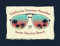 Γράμμα Τ Καλιφόρνιας surfer γραφικό διανυσματική απεικόνιση