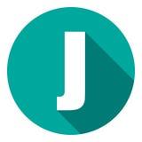Γράμμα J με μια μακριά σκιά Διανυσματική απεικόνιση EPS10 απεικόνιση αποθεμάτων