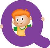γράμμα q αγοριών αλφάβητου Στοκ Εικόνα