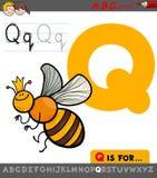 Γράμμα q με το χαρακτήρα μελισσών κινούμενων σχεδίων quenn Στοκ Εικόνες