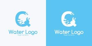 γράμμα Q συνδυασμού και έννοια σχεδίου λογότυπων νερού διανυσματική απεικόνιση