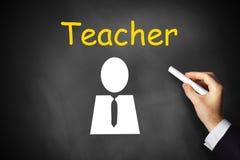 Γράφοντας δάσκαλος χεριών στο μαύρο σύμβολο πινάκων κιμωλίας Στοκ φωτογραφία με δικαίωμα ελεύθερης χρήσης