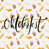 Γράφοντας έμβλημα και σχέδιο χεριών βουρτσών Oktoberfest Στοκ φωτογραφία με δικαίωμα ελεύθερης χρήσης
