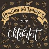 Γράφοντας έμβλημα και σχέδιο χεριών βουρτσών Oktoberfest Στοκ φωτογραφίες με δικαίωμα ελεύθερης χρήσης
