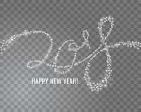 2018 γράφοντας από snowflakes στο διαφανές υπόβαθρο απεικόνιση αποθεμάτων