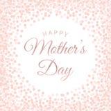 Γράφοντας αφίσα ημέρας της ευτυχούς μητέρας με το ρόδινο κομφετί κύκλων διανυσματική απεικόνιση