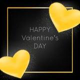 Γράφοντας ευχετήρια κάρτα ημέρας του ευτυχούς βαλεντίνου με τις χρυσές καρδιές με τα σπινθηρίσματα στο μαύρο υπόβαθρο διανυσματική απεικόνιση