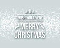 Γράφοντας ευχετήρια κάρτα τυπογραφίας σχεδίου Χαρούμενα Χριστούγεννας αναδρομική με μειωμένα snowflakes και το υπόβαθρο χριστουγε Στοκ εικόνες με δικαίωμα ελεύθερης χρήσης