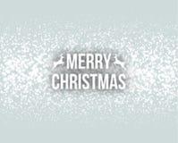Γράφοντας ευχετήρια κάρτα τυπογραφίας σχεδίου Χαρούμενα Χριστούγεννας αναδρομική με μειωμένα snowflakes και το υπόβαθρο χριστουγε Στοκ φωτογραφία με δικαίωμα ελεύθερης χρήσης