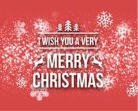 Γράφοντας ευχετήρια κάρτα τυπογραφίας σχεδίου Χαρούμενα Χριστούγεννας αναδρομική με μειωμένα snowflakes και το υπόβαθρο χριστουγε Στοκ Εικόνες