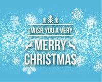 Γράφοντας ευχετήρια κάρτα τυπογραφίας σχεδίου Χαρούμενα Χριστούγεννας αναδρομική με μειωμένα snowflakes και το υπόβαθρο χριστουγε Στοκ Φωτογραφίες