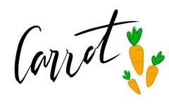 Γράφοντας καρότο με τη διανυσματική απεικόνιση του καρότου Λογότυπο, γραμματόσημο Υγιής, φρέσκος, οργανικός, τρόφιμα eco Λαχανικά απεικόνιση αποθεμάτων