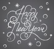 Γράφοντας κιμωλία καλής χρονιάς σε έναν πίνακα, όμορφο κομψό σχέδιο κειμένων, διανυσματική απεικόνιση διανυσματική απεικόνιση