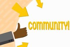Γράφοντας Κοινότητα κειμένων λέξης Επιχειρησιακή έννοια για το χέρι ομάδας ενότητας συμμαχίας κρατικών συνεταιρισμών ένωσης γειτο διανυσματική απεικόνιση
