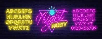 Γράφοντας κόμμα νύχτας νέου στο υπόβαθρο τουβλότοιχος Καμμένος πηγές διανυσματική απεικόνιση