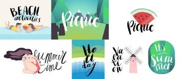 Γράφοντας στην παραλία, το πικ-νίκ, τις διακοπές και το καλοκαίρι απεικόνιση αποθεμάτων