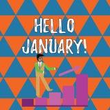 Γράψιμο γειά σου Ιανουάριος κειμένων γραφής Έννοια που σημαίνει έναν χαιρετισμό ή ένα ζεστό καλωσόρισμα στον πρώτο μήνα του έτους απεικόνιση αποθεμάτων