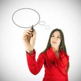 γράψιμο γυναικών σκέψης Στοκ φωτογραφία με δικαίωμα ελεύθερης χρήσης