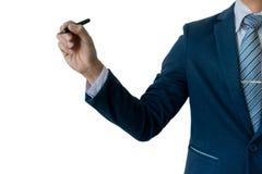 Γράψιμο επιχειρηματιών, που επισύρει την προσοχή στην οθόνη, κενό διαφανές wh Στοκ εικόνες με δικαίωμα ελεύθερης χρήσης