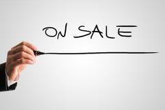 Γράψιμο επιχειρηματιών - στην πώληση Στοκ Εικόνες