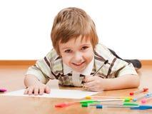 γράψιμο σχεδίων παιδιών Στοκ Φωτογραφίες