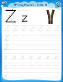 Γράψιμο του γράμματος Ζ πρακτικής Στοκ φωτογραφία με δικαίωμα ελεύθερης χρήσης