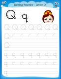 Γράψιμο του γράμματος Q πρακτικής Στοκ φωτογραφία με δικαίωμα ελεύθερης χρήσης