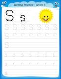 Γράψιμο του γράμματος S πρακτικής Στοκ Φωτογραφίες