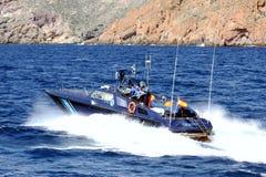Γρήγορη βάρκα της ισπανικής υπηρεσίας τελωνείου στοκ εικόνα