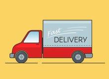 Γρήγορη παράδοσης υπηρεσιών έννοια απεικόνισης φορτηγών διανυσματική Στοκ Εικόνες