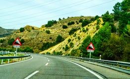 Γρήγορος δρόμος στα βουνά στην Ισπανία, όμορφο τοπίο του moun Στοκ εικόνα με δικαίωμα ελεύθερης χρήσης