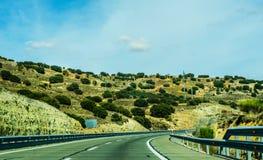 Γρήγορος δρόμος στα βουνά στην Ισπανία, όμορφο τοπίο του moun Στοκ φωτογραφία με δικαίωμα ελεύθερης χρήσης