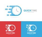 γρήγορος συνδυασμός λογότυπων ρολογιών Σύμβολο ή εικονίδιο χρονομέτρων ταχύτητας Μοναδικό σαφές και πρότυπο σχεδίου ρολογιών logo Στοκ Φωτογραφίες