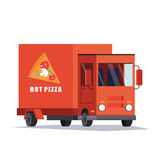 Γρήγορο αυτοκίνητο παράδοσης πιτσών, φορτηγό κινητός ρόδινος προμηθευ Επίπεδο διάνυσμα ελεύθερη απεικόνιση δικαιώματος