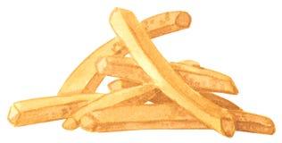 Γρήγορο γεύμα, τηγανιτές πατάτες, συρμένη χέρι απεικόνιση watercolor ελεύθερη απεικόνιση δικαιώματος