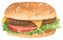 Γρήγορο γεύμα, χάμπουργκερ με το βόειο κρέας, τυρί, φύλλα σαλάτας και ντομάτα, συρμένη χέρι απεικόνιση watercolor ελεύθερη απεικόνιση δικαιώματος