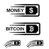 Γρήγορο διάνυσμα τραπεζογραμματίων γραμμών κινήσεων χρημάτων bitcoin Στοκ φωτογραφία με δικαίωμα ελεύθερης χρήσης