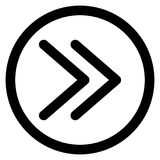 Γρήγορο μπροστινό διπλό εικονίδιο σωστών βελών Στοκ Εικόνα