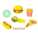 Γρήγορο σάντουιτς εικονιδίων τροφίμων απεικόνιση αποθεμάτων