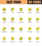 Γρήγορο σύνολο εικονιδίων foodline Στοκ Εικόνες