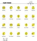 Γρήγορο σύνολο εικονιδίων foodline Στοκ Εικόνα