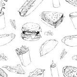 γρήγορο φαγητό ανασκόπησης άνευ ραφής Στοκ Εικόνες